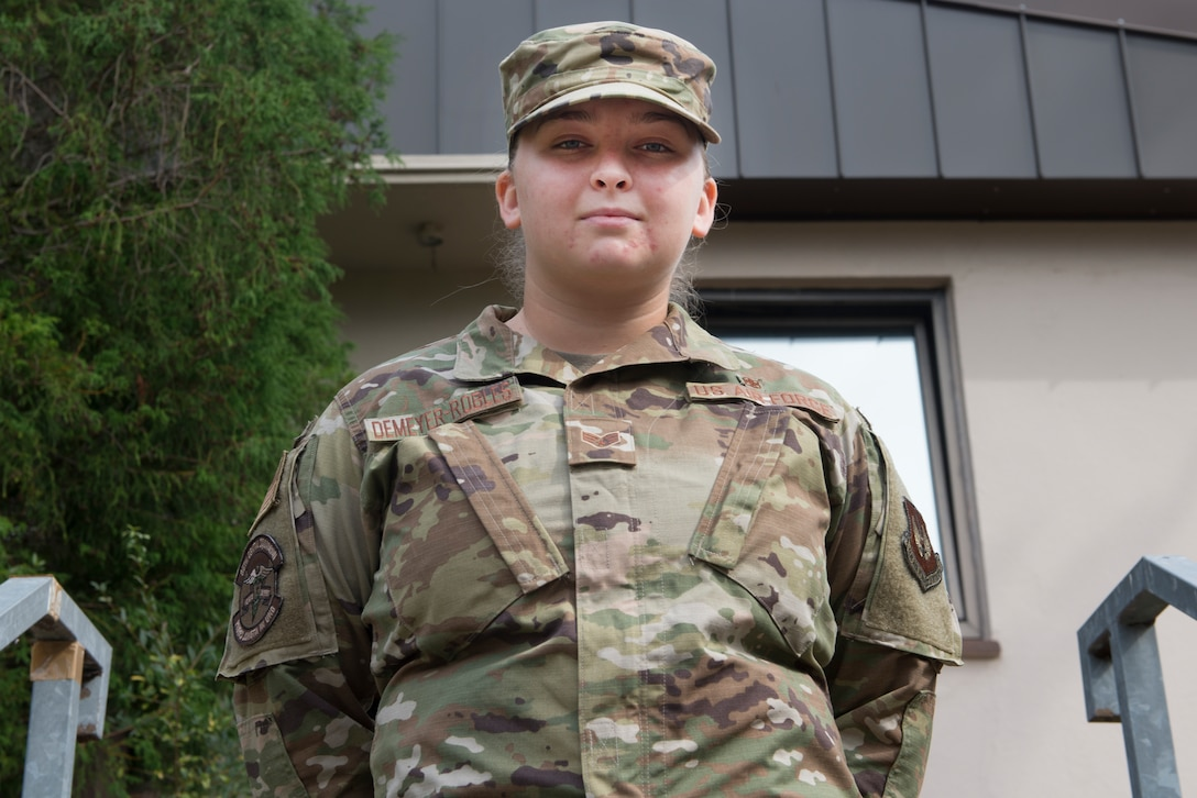 A U.S. Airman poses for a photo.