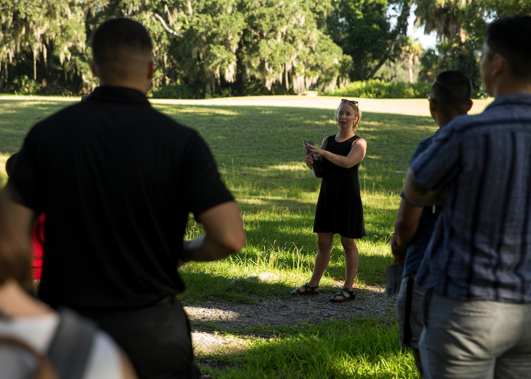 Emily May, a base historian with the Marine Corps Recruit Depot Parris Island Museum, guides Marines in a historic landmark tour aboard MCRD Parris Island, South Carolina on August 07, 2020. (U.S. Marine Corps photo by Cpl. Jack A. E. Rigsby)