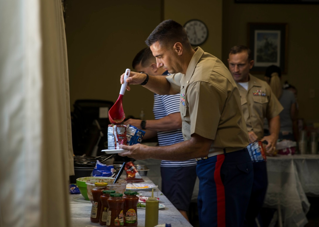 Major Will Patrone, officer in charge of Prior Service Recruiting Station Six, participates in a fundraiser event aboard Marine Corps Recruit Depot Parris Island, South Carolina on August 07, 2020. (U.S. Marine Corps photo by Cpl. Jack A. E. Rigsby)