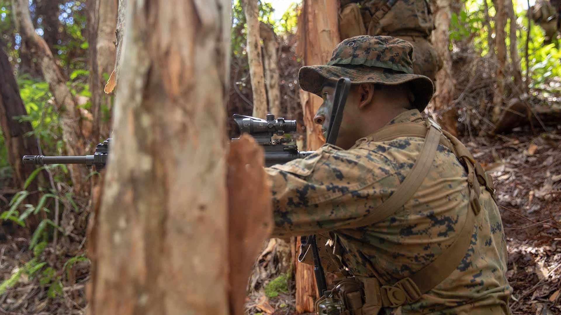 U.S. Marine Corps Sgt. Allen Valdez with kilo company, 3rd Battalion, 3rd Marine Regiment sights down range during a squad patrol at Schofield Barracks, Hawaii, Feb. 25, 2020.