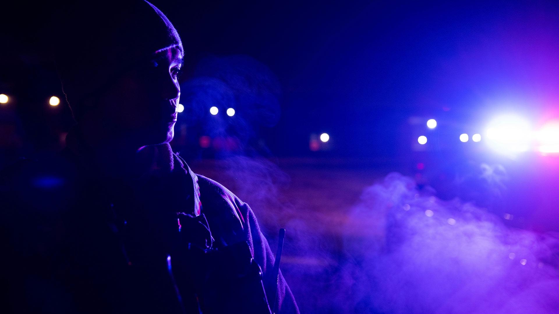 Senior Airman Gabriel Rubina, 375th Security Forces Squadron defender, patrols the base during a night shift at Scott Air Force Base, Ill., Jan. 30, 2020