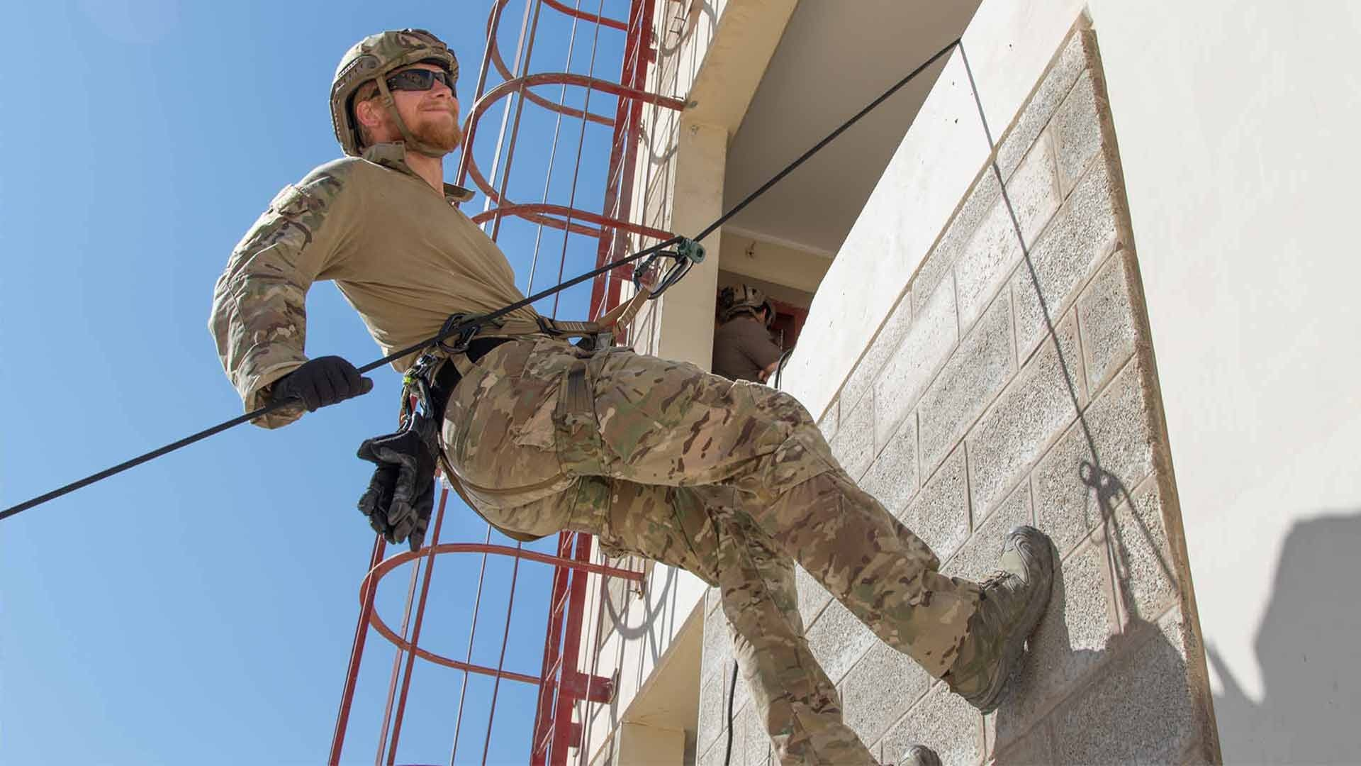 Airmen with the U.S. Air Force Special Operations Command, Special Tactics Troop 2610 conduct joint training with Jordan Armed Forces in urban high angle rescue techniques at King Abdullah II Special Operations Training Center in Amman, Jordan, on Aug. 21, 2019.