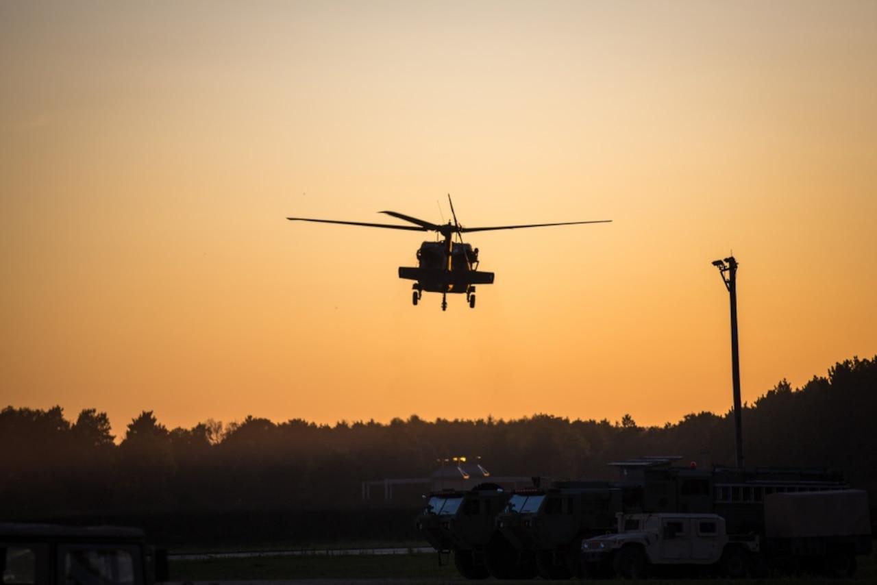 Blackhawk flies over Fort McCoy, Wisc.