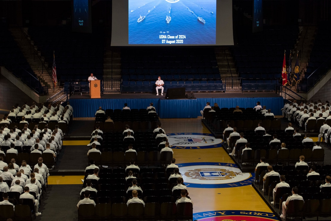 Midshipmen assigned to the U.S. Naval Academy listen to remarks by Chief of Naval Operations (CNO) Adm. Mike Gilday during his address to the U.S. Naval Academy Class of 2024.