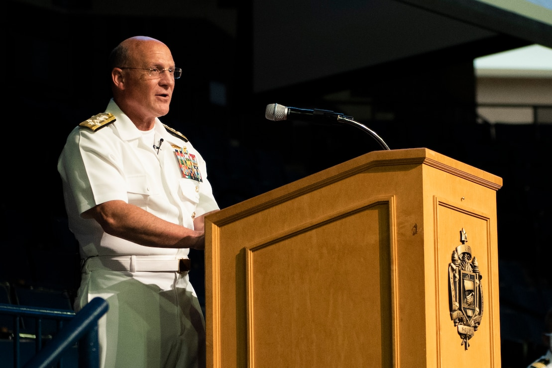 Chief of Naval Operations (CNO) Adm. Mike Gilday addresses the U.S. Naval Academy Class of 2024 in Alumni Hall.