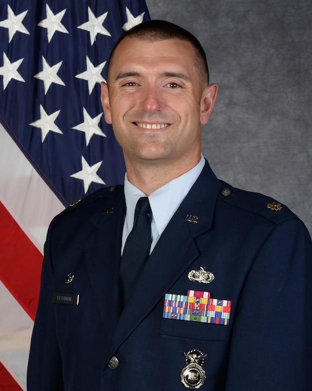 Maj. Daniel Beaudoin official photo. Beaudoin is one of four 20 AF nominees to AFGSC for the 2020 Lance P. Sijan Leadership Award. (U.S. Air Force photo)