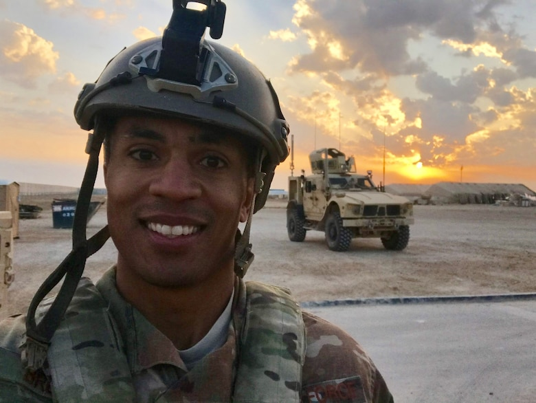 Technical Sgt. Ritchie Brown poses for a photo at Al Asad Air Base, Iraq. Ritchie is one of four 20 AF nominees to AFGSC for the 2020 Lance P. Sijan Leadership Award. (Courtesy photo)
