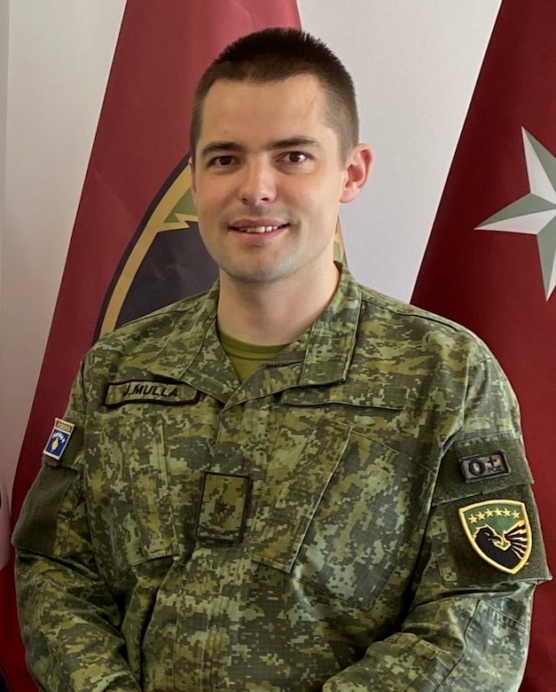 Maj. Jaser Mulla with the regular army from Pristina, Kosovo, poses for the camera. Mulla is attending the Command & General Staff Officers Course Common Core or CGSOC-CC, hosted by the 7th Intermediate Level Education Detachment, 7th Mission Support Command, located in Grafenwoehr, Germany, from July 2020 through July 2021. This is the first time in history the CGSOC-CC has included international students. (Courtesy photo)