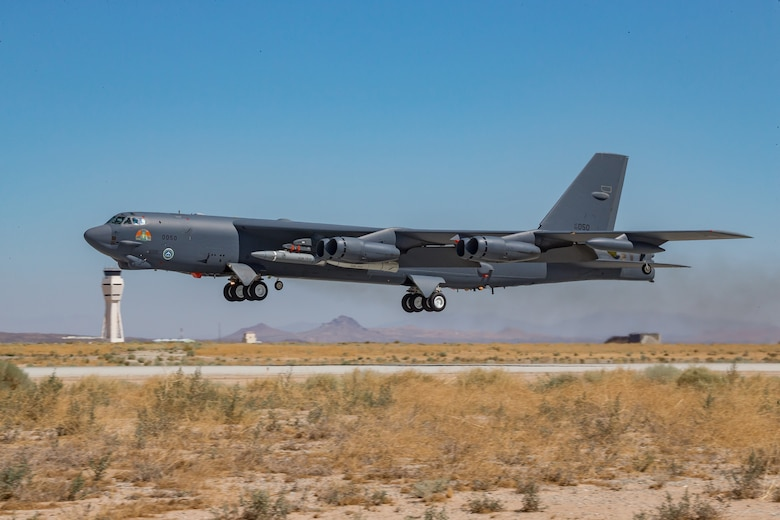 A B-52H Stratofortress assigned to the 419th Flight Test Squadron takes off from Edwards Air Force Base, California, Aug. 8. The aircraft conducted a captive-carry flight test of the AGM-183A Air-launched Rapid Response Weapon Instrumented Measurement Vehicle 2 hypersonic prototype at the Point Mugu Sea Range off the Southern California coast. (Air Force photo by Matt Williams)