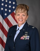Col. Sandra Wilson, 162nd Wing Vice Commander, poses for an official photo. Col. Wilson assumed the vice commander position in June 2020, and she is the first female and non-rated officer to hold that title. (U.S. Air National Guard Photo by Senior Master Sgt. Charles Givens/Released)