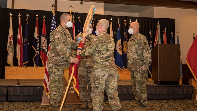 10th Army Air and Missile Defense conduct a change of responsibility ceremony at Ramstein Air Base, Germany on Aug. 6, 2020