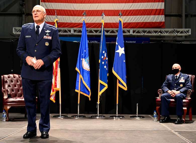 Gen. Arnold W. Bunch, Jr.,  Air Force Materiel Command Commander, speaks to the audience about the dedication and career of Lt. Gen. Carl Schaefer, Air Force Materiel Command Deputy Commander, prior to his promotion to a lieutenant general Aug. 7 at the National Museum of the United States Air Force, Wright-Patterson Air Force Base, Ohio. This accomplishment is significant, as it restores a three-star deputy commander to AFMC, in alignment with other Air Force major commands. This also allows him to receive a promotion, while serving in the same position. (photo by Darrius Parker)