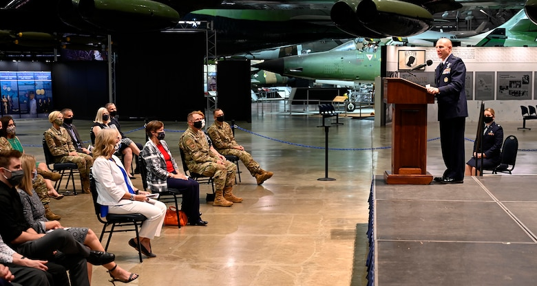 Lt. Gen. Carl Schaefer, Air Force Materiel Command Deputy Commander, expresses his gratitude to his family, friends, coworkers and those unable to be present at the live ceremony, Aug. 7, following his promotion to lieutenant general at the National Museum of the United States Air Force, Wright-Patterson Air Force Base, Ohio. (photo by Darrius Parker)