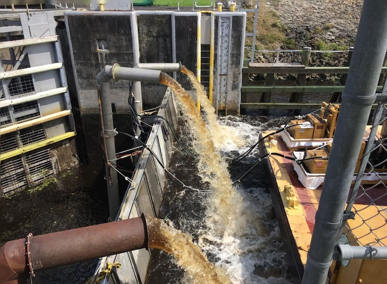Multiple pumps are used to pump water out of the lock chamber for several hours or even overnight.