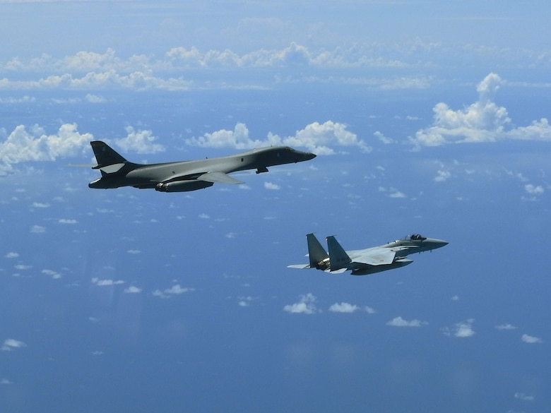 A B-1B Lancer conducts integration training with the Koku-Jieitai, or Japanese Air Self-Defense Force (JASDF) in the vicinity of Japan, Aug.  27, 2020. The B-1s integrated with Koku-Jietai to enhance bilateral interoperability and mutual readiness between the U.S. and Japan. (Photo Courtesy of JASDF)