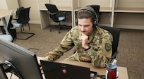 Spc. Quentin Oswalt, 145th Cyber Warfare Company, South Carolina National Guard, intelligence analyst, attended a virtual Basic Leadership Course at the 218th Regional Training Institute at McCrady Training Center in Eastover, South Carolina, in June 2020.