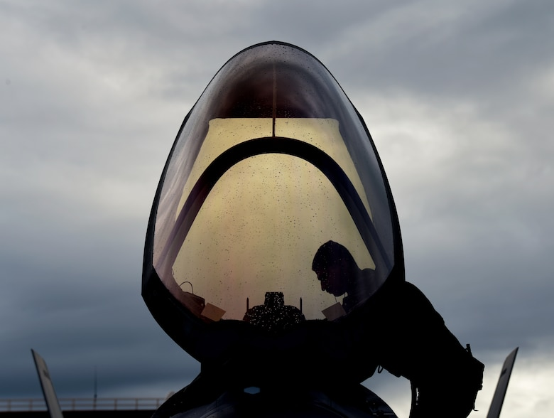 An F-35A Lightning II pilot assigned to the 4th Fighter Squadron climbs into a cockpit during RED FLAG-Alaska 20-3 at Eielson Air Force Base, Alaska, Aug. 4 2020. This iteration of RF-A was the first to feature F-35s, the newest generation of fighter aircraft in the Air Force inventory. (U.S. Air Force photo by Staff Sgt. Annalou Huerta)