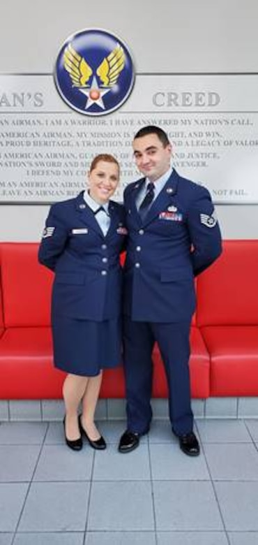 In June, Staff Sgts Cameron and Khrysta Gomula both graduated from the Community College of the Air Force receiving their associate's degrees in Informations Systems Technology. The Gomula's are now both working on obtaining their bachelor's degrees. (Courtesy photo)
