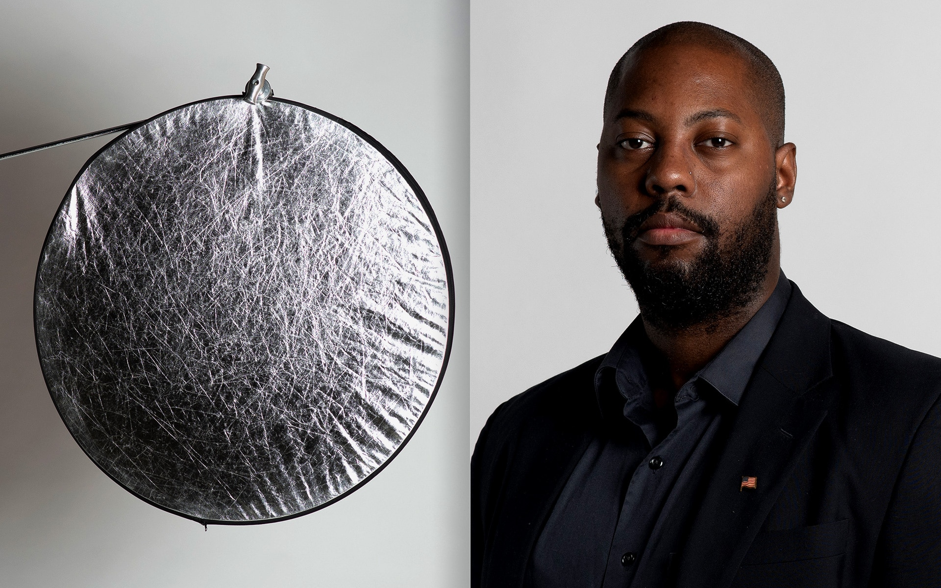 Image of a reflector and a photo taken of a subject while using a reflector.