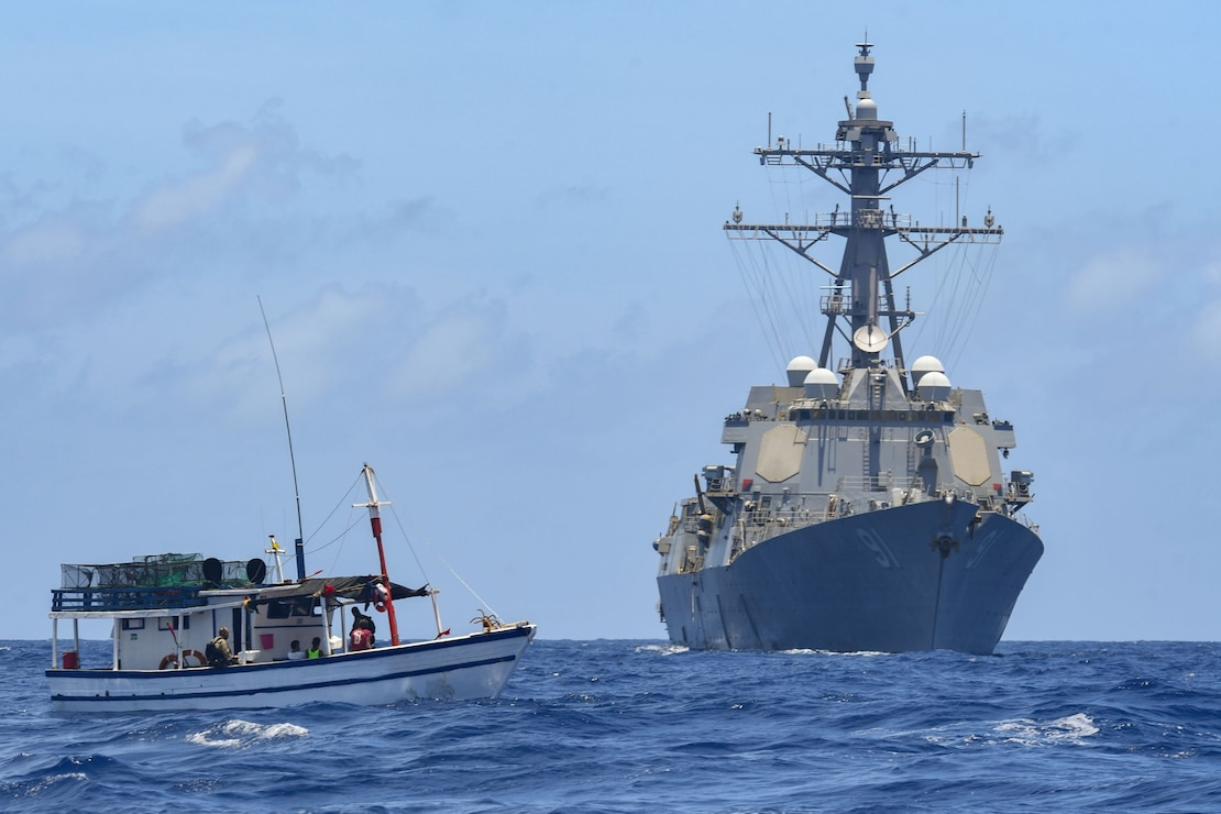 The Arleigh Burke-class guided-missile destroyer USS Pinckney (DDG 91) with embarked U.S. Coast Guard (USCG) Law Enforcement Detachment (LEDET) team conducts enhanced counter narcotics operations July 22.