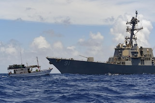 USS Pinckney conducts enhanced counter narcotics operations July 22.