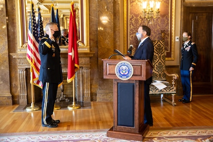Gov. Herbert officiated at the promotion ceremony and administered the oath of office to the newly promoted Adjutant General, Maj. Gen. Michael J. Turley at the Utah State Capitol, in the Gold Room, Aug. 6, 2020.