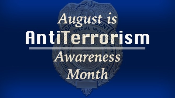 """""""This month, we join our brothers and sisters across the DoD in remembering to stay vigilant against terrorism threats,"""" wrote OSI Vice Commander, Col. Shan B. Nuckols in his message to the Command.  """"This month reminds each of us to continue practicing the motto of our Eagle Eyes program: Watch, Report, Protect."""" (OSI graphic by Maj. Jennifer Womble, OSI/PA)"""
