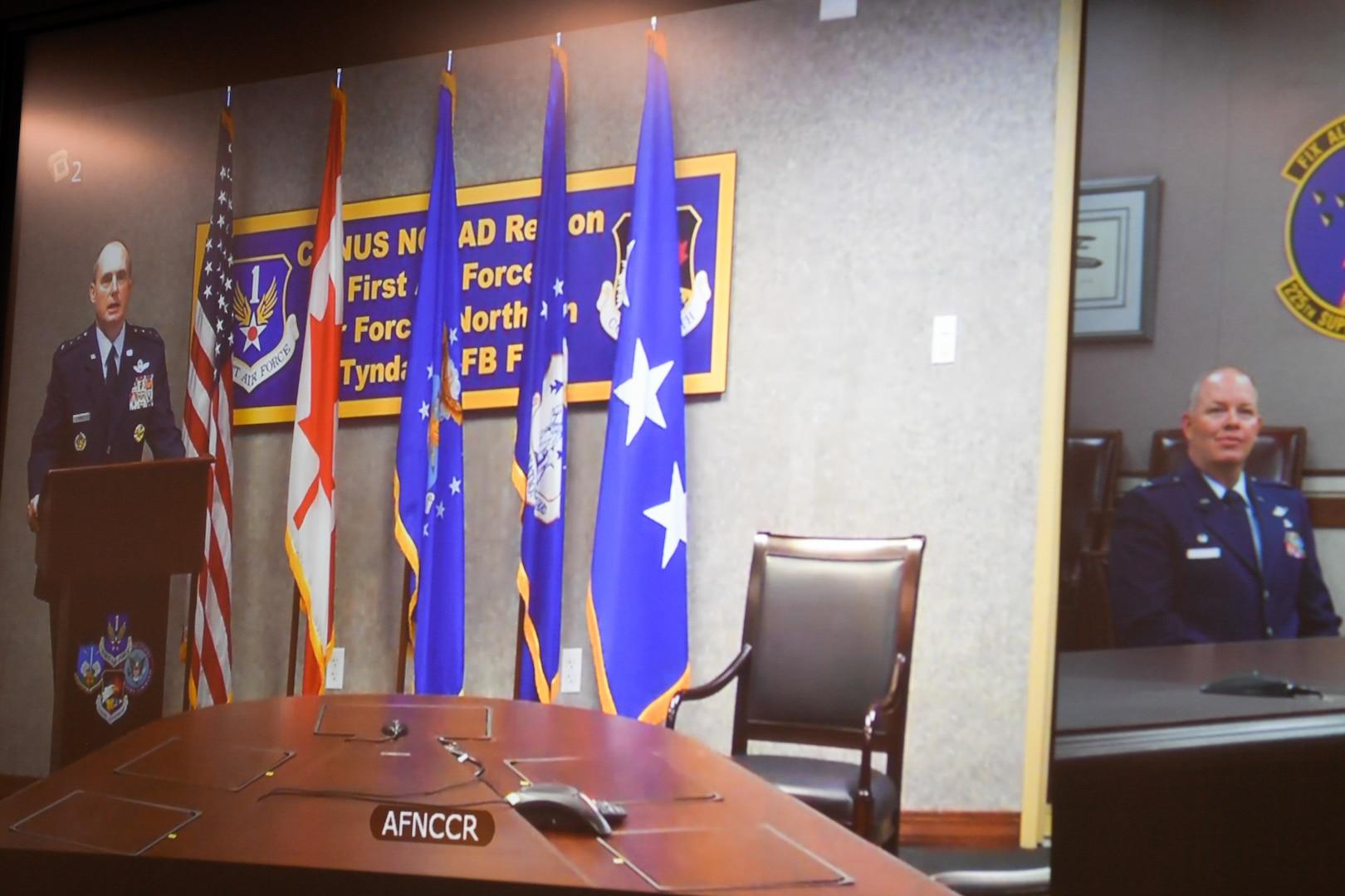 general officer talks at a podium