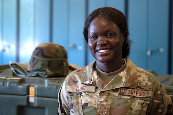 Airman 1st Class Nyarauch Chuol, passenger operations representative with the 32nd Aerial Port Squadron, poses for a photo at the Pittsburgh International Airport Air Reserve Station, July 24, 2020.