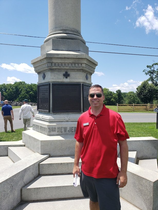 A photo of U.S. Air Force Lt. Col. Joseph W. Leonard at the Antietam National Battlefield