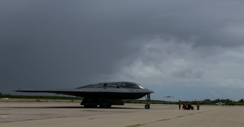A B-2 Spirit Stealth Bomber arrives at Naval Support Facility Diego Garcia, Aug. 12, 2020. Three B-2 Spirits from Whiteman Air Force Base, Missouri, deployed to NSF Diego Garcia to support U.S. security commitments in the Indo-Pacific region. (U.S. Air Force photo by Tech. Sgt. Heather Salazar)