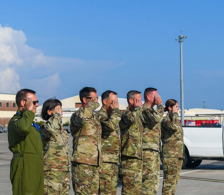 U.S. Air Force installation leadership salutes a distinguished visitor aircraft at Tyndall Air Force Base, Florida, Aug. 11, 2020. The base hosted U.S. Air Force Vice Chief of Staff Gen. Stephen Wilson for a tour covering the rebuild after Hurricane Michael. During the visit, Wilson was also briefed on the base's recent successes and milestones. (U.S. Air Force photo by Airman Anabel Del Valle)