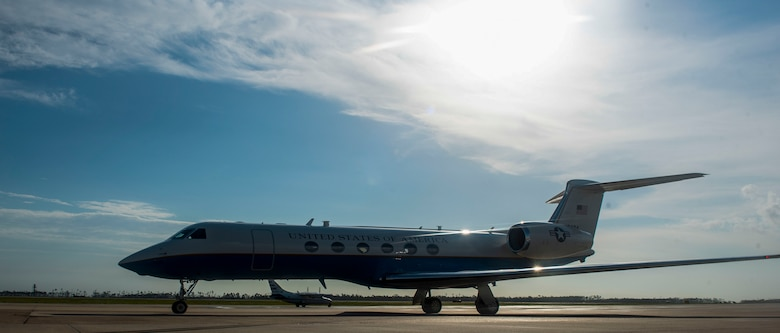 A U.S. Air Force C-37A/B aircraft lands on the flight line at Tyndall Air Force Base, Florida, Aug. 11, 2020. The twin-engine, turbofan aircraft was acquired to fulfill worldwide special airlift missions for high ranking government and Department of Defense officials. (U.S. Air Force photo by Staff Sgt. Magen M. Reeves)