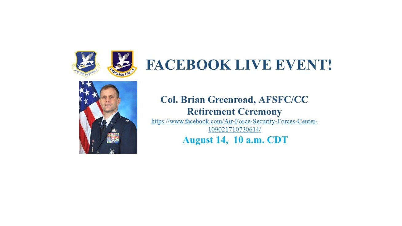 Announcement for Col Greenroad Retirement ceremony with photo of Col Greenroad