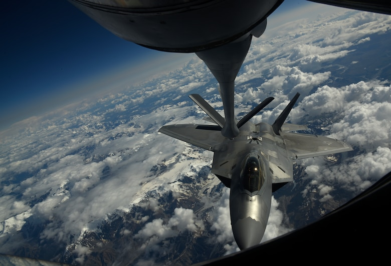 A U.S. Air Force F-22 Raptor from the 354th Fighter Wing prepares to be air refueled by a KC-135 Stratotanker from the 92nd Air Refueling Wing during field training exercise Red Flag Alaska 20-3, Aug. 5, 2020. The Indo-Pacific is a top priority for the United States, and the DoD through exercises like RFA 20-3, is committed to ensuring U.S. forces are capable and ready to face the evolving challenges in the region. (U.S. Air Force photo by Staff Sgt. Jesenia Landaverde)