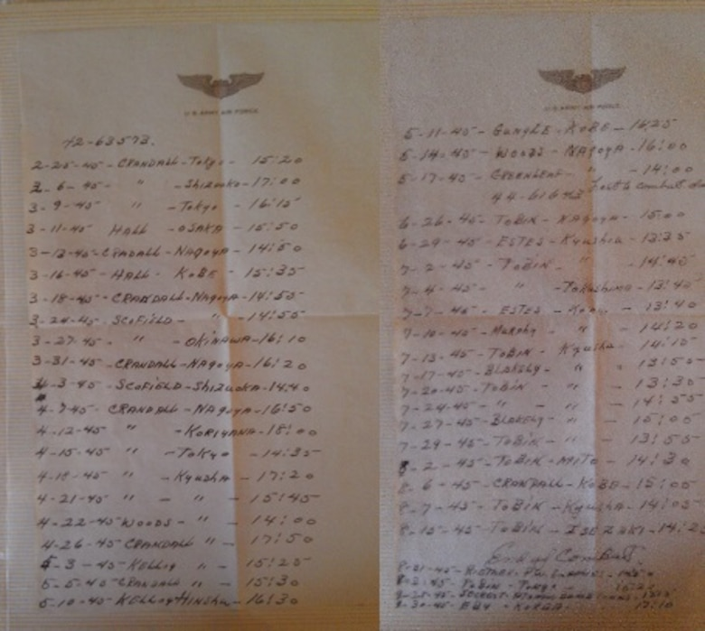 A log of the bombing operations.