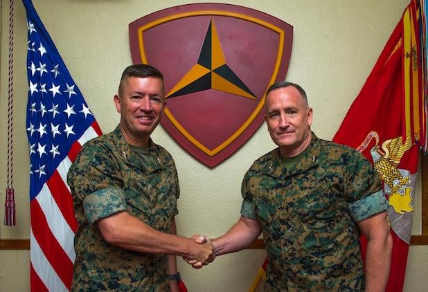 U.S. Marine Corps Maj. Gen. William M. Jurney, Commanding General, 3rd Marine Division, right, relinquished command to Maj. Gen. James Bierman at Camp Courtney, Okinawa, Japan, Aug. 13, 2020. (U.S. Marine Corps photo by Cpl. Savannah Mesimer)