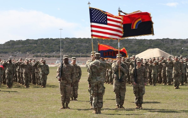 New York Army National Guard Soldiers assigned to the 42nd Infantry Division conduct a casing of the Colors Ceremony on Fort Drum, Texas, Feb. 29, 2020. The ceremony signals the 42nd's readiness to deploy in support of the United States Army Central Command.