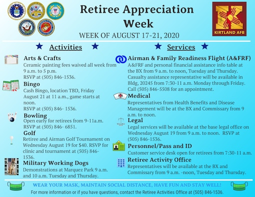 Infographic of KAFB Retiree Appreciation Week activities for Aug. 17-21, 2020
