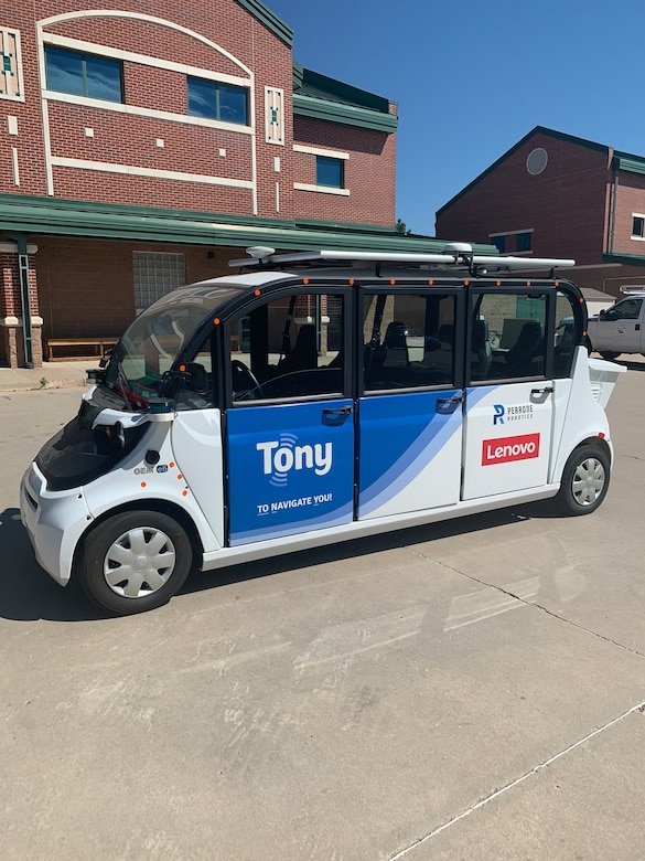 The type of automated shuttles that will be used in a Smart Transportation Testbed, a yearlong pilot program to plan, develop, demonstrate and employ automated vehicle (AV) technologies, is pictured. The testbed project, which will start in Fort Carson, Colorado, in September 2020, is a project managed by the U.S. Army Engineer Research and Development Center to determine how AV technology can help the military reduce transportation costs, improve public safety and enable faster delivery of services.