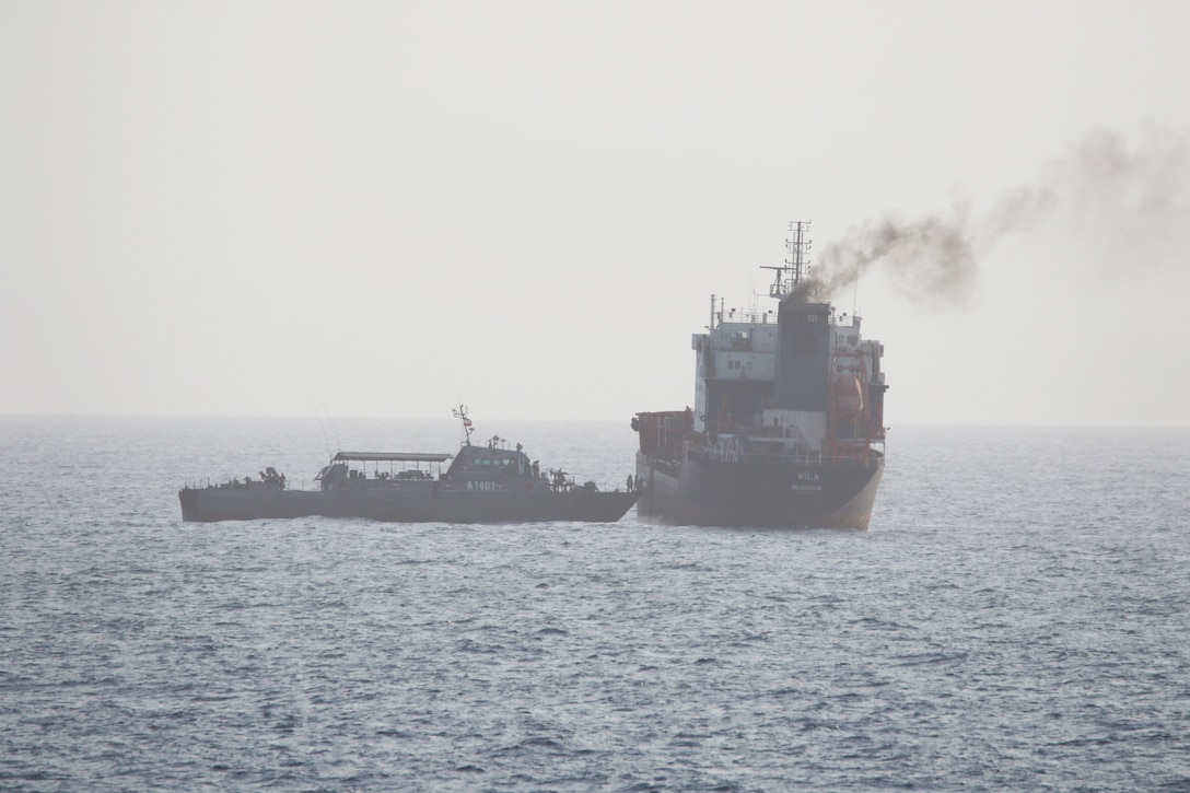 ARABIAN GULF (August 12, 2020) – Motor Tanker (M/T) Wila, a merchant vessel in international waters en-route to the UAE port of Khor Fakkan, in the Gulf of Oman, was boarded by armed Iranian personnel from both an Iranian Sea King helicopter and the Iranian auxiliary vessel Hendijan (1401).  Coalition Task Force Sentinel, the operational arm of the International Maritime Security Construct, is a multinational maritime effort which promotes maritime stability and safe passage, enhancing freedom of navigation throughout key waterways in the Arabian Gulf, Strait of Hormuz, Gulf of Oman, Gulf of Aden, Bab el-Mandeb Strait and Southern Red Sea. (Courtesy U.S. Navy photo)