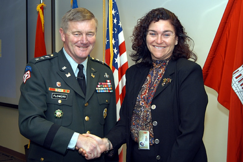 """Lt. Gen. Robert B. Flowers, Chief of Engineers, designated Patti Williams a """"Portland District Hero"""" in 2004 for her consistently high standards resolving issues."""