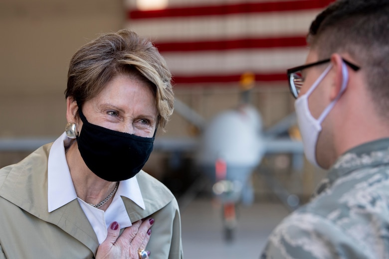 Secretary of the Air Force Barbara Barrett says thank yous and farewells to Hunter Airmen.