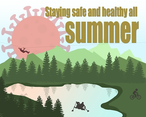 Graphic depicting a lake in the mountains and a corona sun with a zipline, boaters, and bicyclist.