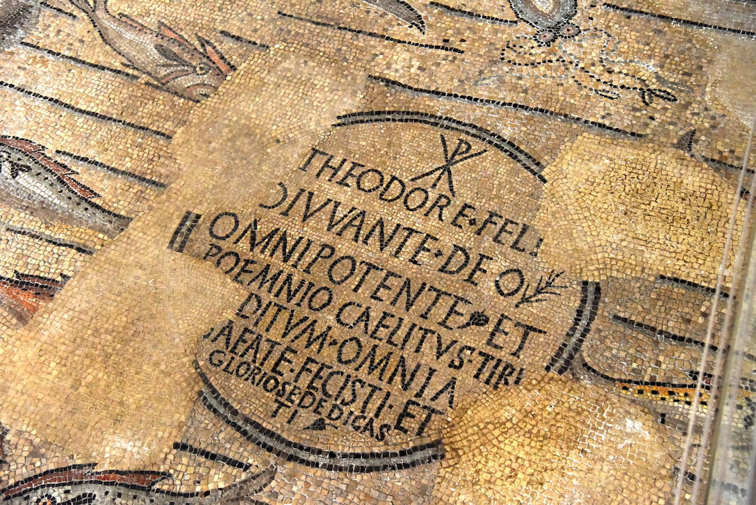 Inscription mosaic at Aquileia, Italy, July 25, 2020. This inscription is celebrating the constructor of the building, Bishop Theodore. (U.S. Air Force photo by Staff Sgt. Kelsey Tucker)