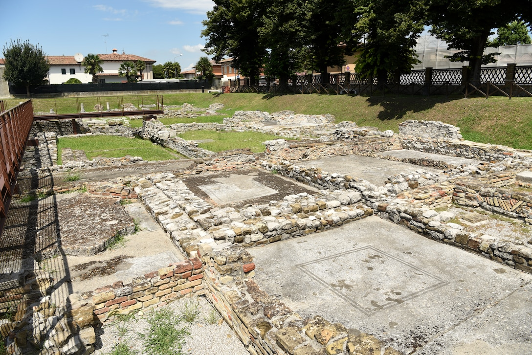 Ruins of Roman houses at Aquileia, Italy, July 25, 2020. There were about 34 rooms, many being large boardrooms with mosaic floors. (U.S. Air Force photo by Staff Sgt. Heidi Goodsell)