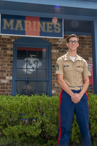 Staff Sgt. Gabriel A. Little, a canvassing recruiter with Recruiting Substation Mobile, Recruiting Station Montgomery, works at his RSS in Mobile, Alabama, Aug. 8, 2020, to guide young men and women in their pursuit of becoming Marines. RS Montgomery is responsible for finding and preparing young men and women for the rigors of recruit training aboard Marine Corps Recruit Depot Parris Island, South Carolina. (U.S. Marine Corps photo by Sgt. Jorge A. Rosales)
