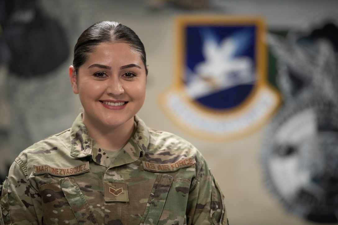 Coming from the valleys of Los Angeles County, Senior Airman Abril Martinez-Vasquez, 341st Security Forces Squadron arming use of force monitor, wanted better for herself and decided to join the Air Force.