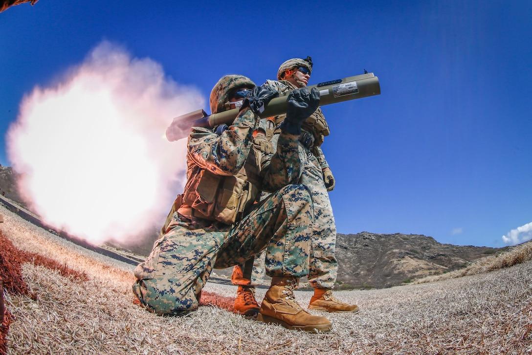 U.S. Marines fire an M72 LAW weapon system on Marine Corps Base Hawaii, Aug. 13.