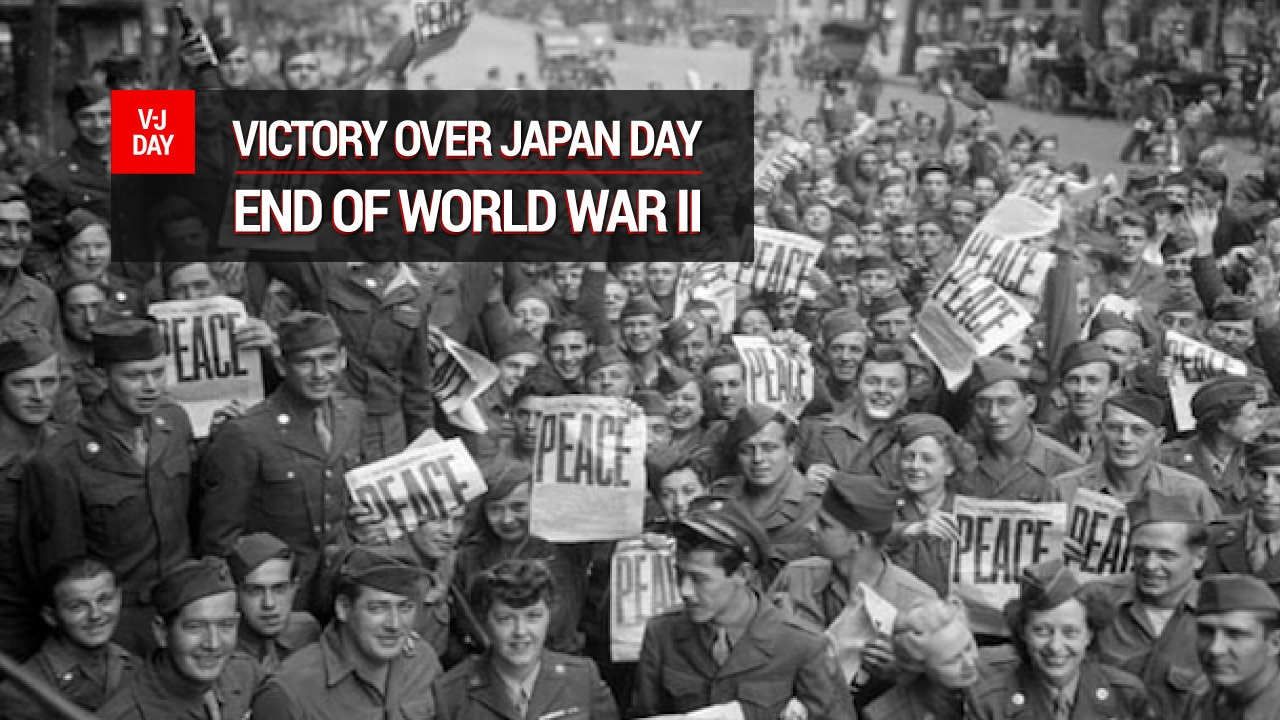"The words ""Victory Over Japan Day - End of World War II"" appear over a black-and-white photo of a crowd of people."